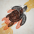 Vector Sea Turtle in abstract composition. Royalty Free Stock Photo