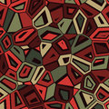Vector Seamless Abstract Green Red Camouflage Mosaic Pattern