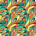 Vector seamless abstract hand-drawn colorful leaves floral pattern