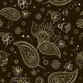 Seamless abstract pattern paisley flower shawl texture