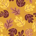 Vector seamless Autumn pattern of fall leaves. Oak leaf seaonal background red, yellow, gold, and pink for textile, digital paper,