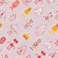 Seamless pattern with cute robots