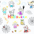 Vector seamless background with happy childrens halloween Stock Image