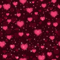 Vector seamless background with hearts and sparkles. Vector
