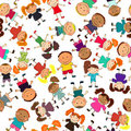 Vector seamless background with kids Royalty Free Stock Image