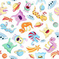 Vector seamless background with monsters Stock Images