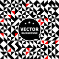 Vector seamless background pattern, white black red triangle. Royalty Free Stock Photo