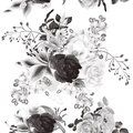 Vector seamless background with roses in monochromic color elegant sepia style Royalty Free Stock Images