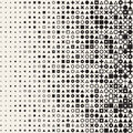 Vector Seamless Black and White Circle Square Cross Triangle Shapes Halftone Grid Pattern Geometric Background Royalty Free Stock Photo
