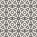 Vector Seamless Black and White Geometric Ethnic  Floral Line Ornament Pattern Royalty Free Stock Photo