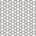 Vector Seamless Black And White Geometric Hexagon Lines Pattern. Abstract Geometric Background Design