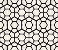 Vector Seamless Black And White Geometric Hexagon Rounded Grid Pattern Royalty Free Stock Photo