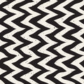 Vector seamless black and white hand drawn zig zag distorted lines retro pattern abstract background Stock Image