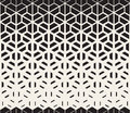 Vector Seamless Black and White Hexagon Triangle Split Lines Halftone Gradient Pattern Royalty Free Stock Photo