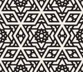 Vector Seamless Black And White Hexagonal Star Islamic Ornamental Pattern