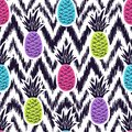 Vector seamless ethnic pattern with pineapples