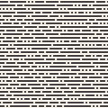 Vector Seamless Black and White Irregular Rounded Dash Lines Pattern Royalty Free Stock Photo