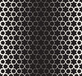 Vector Seamless Black And White Islamic Star Geometric Halftone Line Pattern