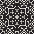Vector Seamless Black and White Round Star Lace Ornamental Pattern