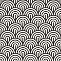 Vector Seamless Black and White Rounded Arc Concentric Circles Pattern Royalty Free Stock Photo