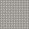 Vector Seamless Black and White Rounded Circle Maze Line Truchet Pattern