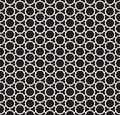 Vector Seamless Black and White Rounded Hexagon Line Connected Grid Simple Pattern Royalty Free Stock Photo