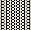 Vector Seamless Black and White Rounded Hexagon Line Grid HoneyComb Simple Pattern Royalty Free Stock Photo