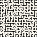 Vector Seamless Black and White Rounded Maze Irregular Circle Blocks and Lines Pattern