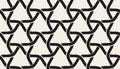 Vector Seamless Black and White Rounded Wavy Line Triangle Lattice Interlacing Pattern