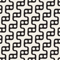 Vector Seamless Black and White Rounded Wavy Step Lines and Circles  Pattern Royalty Free Stock Photo