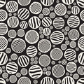 Vector Seamless Black And White Stripes Circles Jumble Hand Painted Grungy Pattern Royalty Free Stock Photo
