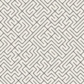 Vector Seamless Black and White Thin Lines Irregular Maze Pattern
