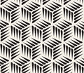Vector Seamless Black and White Thorn Shape Cubic Geometric Pattern