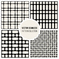 Vector Seamless Black and Wite Geometric Pattern Collection Royalty Free Stock Photo