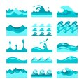 Vector seamless blue water wave tiles set for patterns and textures Royalty Free Stock Photo