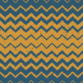 Vector Seamless Blue Yellow Color Hand Drawn Horizontal Gradient Halftone ZigZag Distorted Lines Grungy Ethnic Pattern