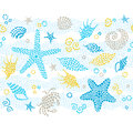 Vector seamless border with sea elements. Royalty Free Stock Photo