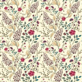 Vector seamless bright colorful gentle hand drawn little ditsy flower pattern. Bright floral allover print on black