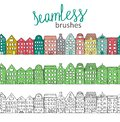 Vector seamless brushes with cute colorful, green and black and white houses