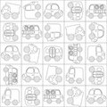 Vector seamless cartoon cars outline Stock Photo