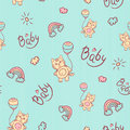 Vector seamless cartoon pattern. Little kitten with balloons, clouds, sun and rainbow. Gentle turquoise background for