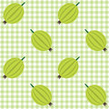 Vector seamless checked green and white pattern with gooseberries Royalty Free Stock Image