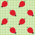 Vector seamless checked green and white pattern with rose hips Royalty Free Stock Photo