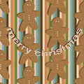 Vector seamless childlike christmas stripped pattern with gingerbread cookies Royalty Free Stock Photo