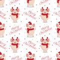 Vector seamless christmas pattern. Cute cartoon pigs on white background. Royalty Free Stock Photo