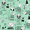 Vector Seamless Christmas Pattern with Doodle Animals in the Woo