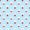 Vector seamless christmas winter pattern with cute polar white bear with gift, snowflakes ornament on snow background