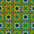 Vector Seamless Color Floral Mandala Pattern Royalty Free Stock Photo