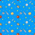 Vector Seamless Colorful Cosmos Pattern, Spaceships, Stars and Planets.