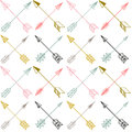 Vector seamless colorful ethnic pattern with arrows. Royalty Free Stock Photo
